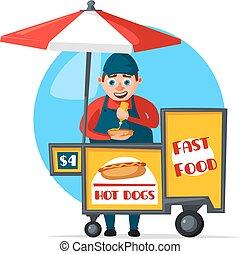 comida de calle, rápido, vector, carrito, vendedor, cabina