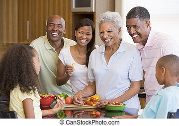 comida de familia, preparando, juntos