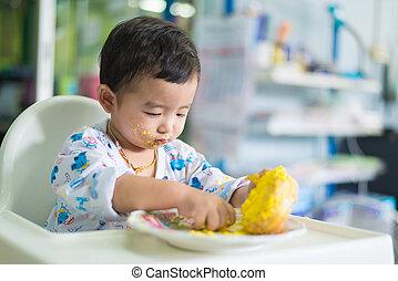 comida, face., cumpleaños, asiático, pastel, niño, crema
