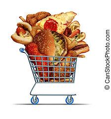 comida fazendo compras, insalubre