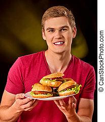 comida, fríe, francés, hamburguesa, mesa., hombre