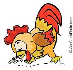 comida, gusano, gallo