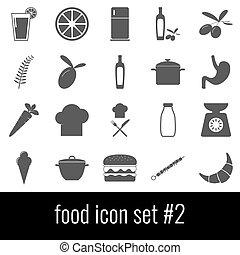 comida., icono, conjunto, 2., gris, iconos, blanco, fondo.