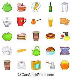 comida, iconos, conjunto, caricatura, estilo