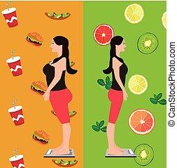 comida insalubre, após, dieta, frutas, fresco, menina, mudança, antes de