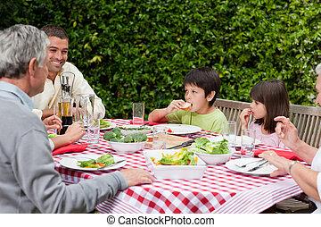 comida, jardín, familia , feliz