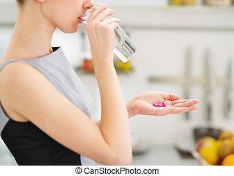 comida, joven, ama de casa, agua, primer plano, bebida,...