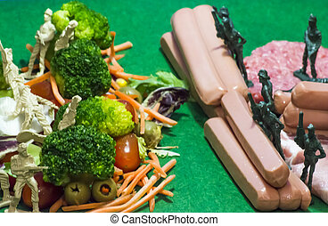 comida, malsano, ejército, sano, alimenticio, contra, war.,...