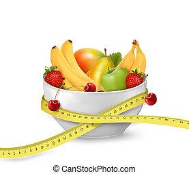 comida., medición, concepto, tazón, dieta, fruta, vector, ...