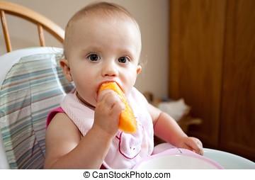 comida, melón cantalupo, bebé