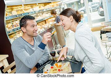 comida, pareja, foodcourt