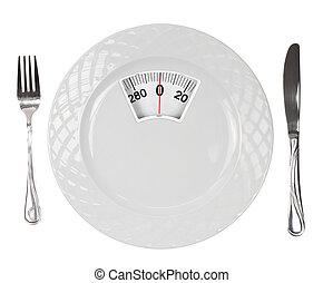 comida., placa, escala, peso, dieta, blanco
