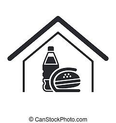 comida rápida, aislado, ilustración, solo, vector, icono