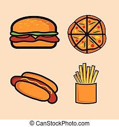 comida rápida, conjunto