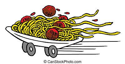 comida rápida, espaguetis