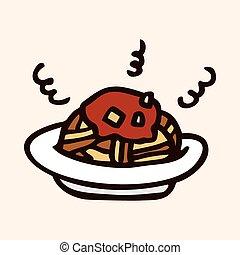 comida rápida, espaguetis, plano, icono, elementos