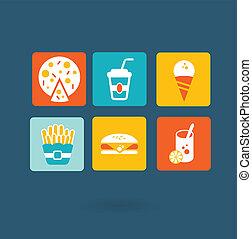 comida rápida, iconos
