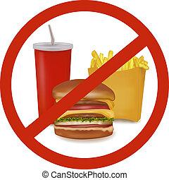 comida rápida, peligro, etiqueta, (colored).