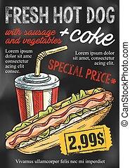 comida rápida, pizarra, menú, diseño