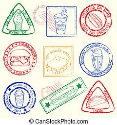 comida rápida, sellos, conjunto