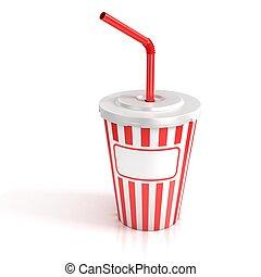 comida rápida, taza de papel, con, rojo, tubo