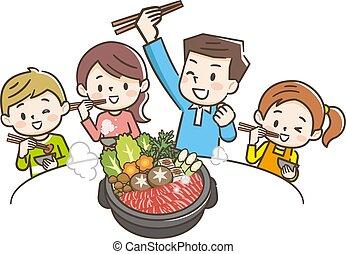 comida, sukiyaki, familia , sonriente, ilustración