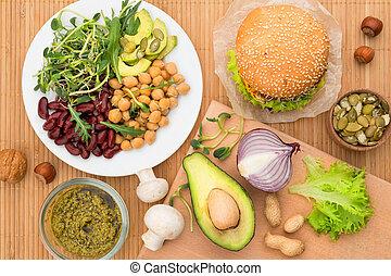 comida vegan, fundo, vista superior