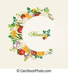 comida vegetariana, menu, ilustração