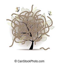 comido gusano, árbol
