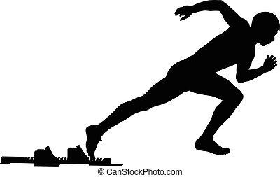 comienzo, atleta, macho, bloques, de arranque