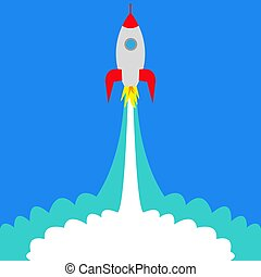 comienzo, cohete, espacio
