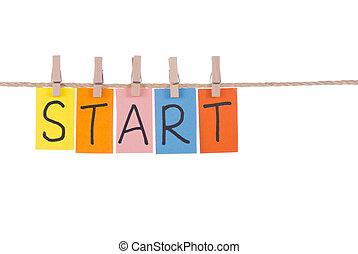 comienzo, colorido, de madera, cuelgue, soga, palabras, clavija