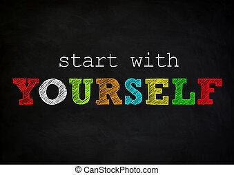 comienzo, concepto, -, pizarra, usted mismo
