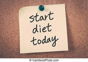 comienzo, dieta, hoy