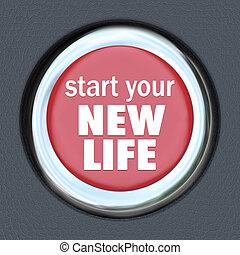 comienzo, un, nueva vida, botón rojo, prensa, restablecer,...