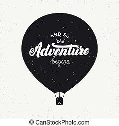 comincia, iscrizione, grunge, illustration., balloon., mano ...