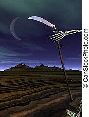 Coming death - 3D render - Scythe held into skeleton hand...