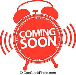 Coming soon alarm clock red icon, vector illustration