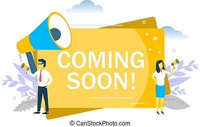 Coming soon announcement, vector flat style design illustration