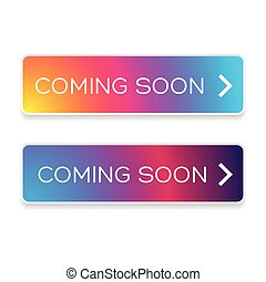 Coming soon button colorful vector