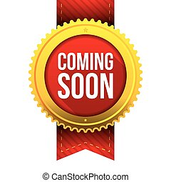 Coming Soon gold button vector