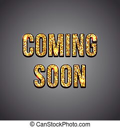 Coming soon gold glitter text on dark background