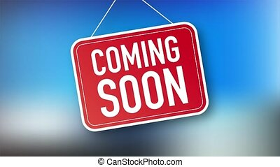 Coming soon hanging sign on white background. Sign for door.  stock illustration