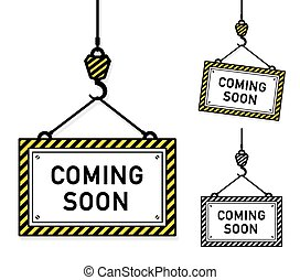 Coming soon hanging signs
