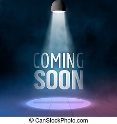 Coming soon illuminated with light projector blank stage realistic vector illustration. Sale market commerce concept