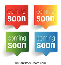 Coming soon label speech bubble