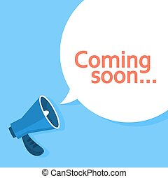 Coming soon message in a speech bubble. Creative web banner