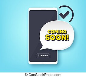Coming soon. Promotion banner sign. Vector