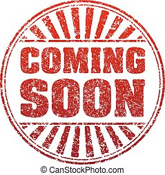 Coming soon red grunge style rubber stamp with rays.