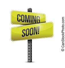 coming soon road sign illustration design